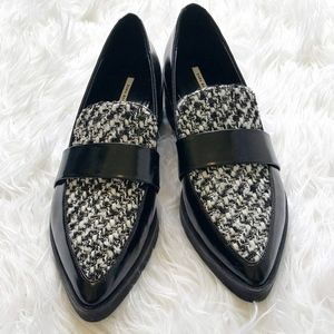 Zara Basic Pointed Toe Tweed Loafers Size 39